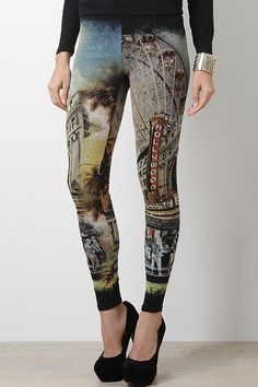 Turn your style to a scenic sight with this Los Angeles Tour Leggings. These leggings features the Hollywood city prints, stretchy taper construction, and an elasticized waist.