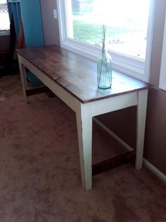 DIY Farmhouse narrow table. Estimated cost $40! Beginner level, weekend project. I want to make this for our entryway!!