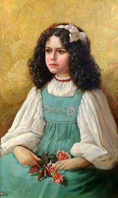 Anna Lea Merritt (1844 - 1930). Portrait Of A Young Girl Holding A Posy Of Roses