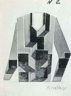"""design for a Futurist dress creating the effect of projecting cubes (1925)-giacomo balla  via stopping off place"