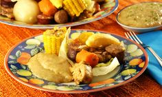 "Cozido, meat and vegetables stew, is made with smoked pork meat (bacon and sausage), dried beef, manioc, corn, carrot, whole onion, pumpkin, cabbage, kale and banana. With the meat broth is made the ""pirão"", a cream of meat broth and manioc flour."