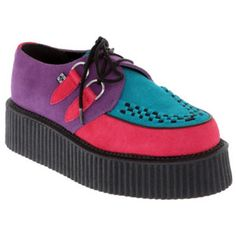 T.U.K. Purple Turquoise Pink Suede Mondo Creepers   Hot Topic