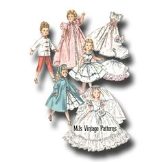 "Vtg 50s Doll Wedding Dress Pattern ~ 23"" 24"" Miss Revlon, Toni, Sweet Sue"
