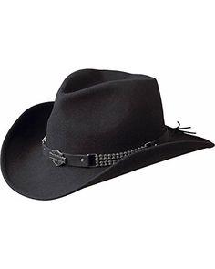 Harley Davidson Men s Chain Band Bend-A-Brim Wool Felt Crushable Cowboy Hat  Black 831d05e27b3e