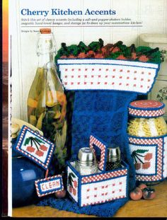 CHERRY ACCENTS 00 Plastic Canvas Christmas, Plastic Canvas Crafts, Plastic Canvas Patterns, Kitchen Canvas, Kitchen Sets, Kitchen Stuff, Kitchen Decor, Cherry Kitchen, Strawberry Patch