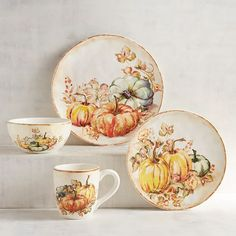Here's one way to get your vegetables with every meal. Each glazed earthenware piece features a harvest of fresh-picked, colorful pumpkins. So even if your plate, bowl or mug is empty, it will always be filled with garden-fresh splendor. Harvest Decorations, Seasonal Decor, Fall Decor, Holiday Decor, Thanksgiving Dinnerware, Harvest Kitchen, Turquoise Door, Autumn Tea, Pumpkin Candles