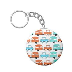 Retro Camping Trailer Turquoise Orange Vintage Car Keychain SOLD on Zazzle