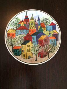 2017 K&E HOME Hand painted ceramic plate. Dot Art Painting, China Painting, Pottery Painting, Ceramic Painting, Ceramic Art, Painted Ceramic Plates, Hand Painted Ceramics, Cottage Art, Mural Art