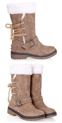 86f7b129a8f I waaaaaaaant these hunny  ) Vintage Suede and Buckle Design Snow Boots For  Women