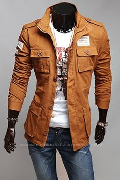 Korean Style Casual Men Long Sleeve Stand Collar Khaki Cotton Coat M/L/XL/XXL @X2096523k
