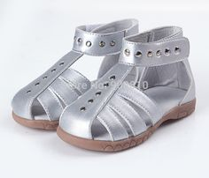 girls leather sandals 100% genuine leather toddler shoes silver pink white closed toe summer shoes Rome sandals chic unique