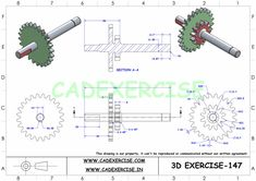 Autocad Isometric Drawing, 3d Drawings, Mechanical Design, Drawing Practice, Car Engine, Technical Drawing, The 100, Pdf, Exercise