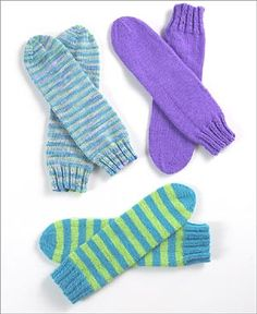 Mar 2020 - Warm your toes with striped tube socks knit in fun and fancy colors. They stay put with comfy banded cuffs. Knitted Socks Free Pattern, Crochet Socks, Knitted Slippers, Knit Crochet, Knit Socks, Crochet Granny, Kids Slippers, Circular Knitting Needles, Loom Knitting