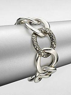 Pomellato 67 - Sterling Silver Large Link Chain Bracelet/Marcasite Link