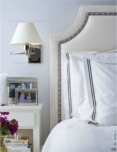 VT Interiors - Library of Inspirational Images - love this headboard, looking for inspiration for a new one, and I think I found it