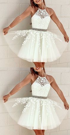 Elegant Tulle Homecoming Dresses Lace Embroidery Cross Back - Formal dresses short - Cute Formal Dresses, Semi Dresses, Hoco Dresses, Event Dresses, Dress Prom, 8th Grade Formal Dresses, Semi Formal Dresses For Teens, White Semi Formal Dress, 8th Grade Graduation Dresses