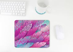 pretty home office decor Mouse Pad / Feather Print / Feather Mousepad / by littlehawthorne @ littlehawthorne.etsy.com  this mouse pad is full of COLOR!