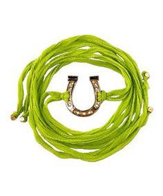 Ettika Horseshoe Charm Silk Wrap Bracelet $80