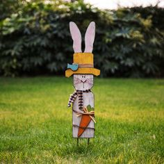 H Handcrafted Wooden Bunny Garden Stake