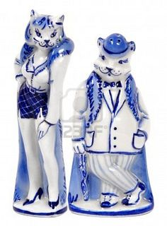 Saltshakers  lady-cat and man-cat in  white-blue