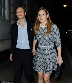 On their way: Princess Beatrice leaves Loulou's in Mayfair with her boyfriend Dave Clark, ...