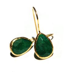 Emerald Green Drop Earrings by toosis on Etsy, $56.00