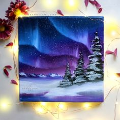 First Christmas - Gift for her Oil Painting - Wall Art - Landscape Painting - Winter Decor - . First Christmas - Gift for her Oil Painting - Wall Art - Landscape Painting - Winter Decor - Pine Tr, Winter Painting, Light Painting, Painting For Kids, Diy Painting, Painting Northern Lights, Painting Lessons, Painting Tutorials, Painting Bedrooms, Purple Painting