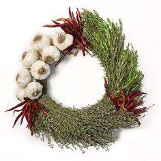 Organic Garlic, Herbs, and Chili Peppers Wreath $70