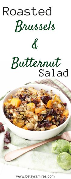 FALL in love with this Roasted Brussels and Butternut Salad! This salad is full of fall flavors to put on your Thanksgiving table.