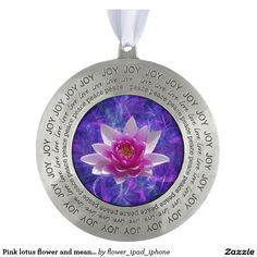 Pink lotus flower and meaning round pewter christmas ornament