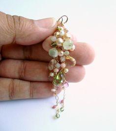 Pink Green Cluster Earrings Boho Gemstone by BellaAnelaJewelry