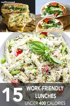 Healthy, portable ideas under 400 calories. Our collection of work-friendly lunch recipes allows you to spice up plain sandwiches, wraps, quesadillas and salads...