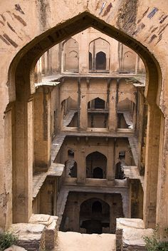 Stepwell - Neemrana, by mhodges, via Flickr... i have stood on these crumbly 6 stories high ledges!!