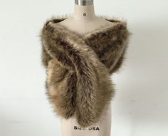 Vintage Brown Bridal Wrap Faux Fur by Angelonlinedress on Etsy