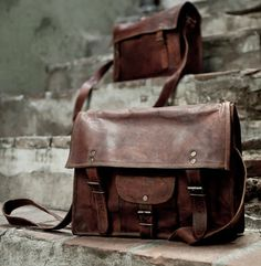 Кожена чанта/ Distressed Leather School Bag Shoulder Bag Messenger Bag Vintage Leather Satchel