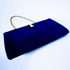 1960's Blue Suede Hand Bag