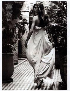 Best Editorials - Blumarine Spring Summer 2015 • Silk crepe de chine ruched gown. • GRAZIA, Italy - February 25, 2015