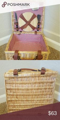Picnic Hamper Never been used charcuterie picnic hamper lined with classic red and white liner. Amazing quality. Sturdy handle and straps makes carrying a breeze. This beautiful design hamper is made from real willow and hand woven. Ideal as a gift, for any occasion or just to take to the park and fill with lovely food! Included: basket, 2 knives, cheese grater, and wooden plate The Great British Hamper Company Other