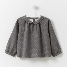 Polka dot flannel blouse GREY/NATURAL Girl - Baby Clothes - Jacadi Paris