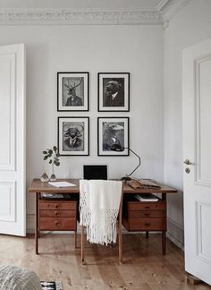 Home office inspiration for a house with original details complete with a reading corner and a masculine library feel and grey colour scheme. Home Office Design, Home Office Decor, House Design, Home Decor, Office Ideas, Office Nook, Office Table, Office Workspace, Bedroom Office