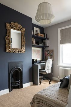 the darker wall is Royal Henry from Valspar paints and the lighter is Eglise Grey from Crown Le Pettit Palais