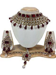 f8ddf616832f2 18 Best Indian Bollywood Wedding Party Kundan Necklace Jewelry Set ...