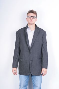 Brooks Brothers 346 Mens 46 XL Blazer Jacket Wool Dark Grey