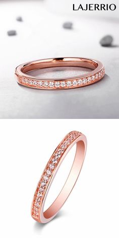 Lajerrio Round Cut White Sapphire Rose Gold Sterling Silver Wedding Bands 500071B