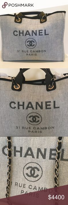 Chanel Deauville Tote Gorgeous tote  sold out in gray-navy bought at Chanel Pam Beach. It is in perfect condition inside and out. The size is 15 x 11.75 inches. The blue adhesive protecting  the inside metal pieces is still covered. Perfect condition with box authenticity card and Chanel tag. CHANEL Bags