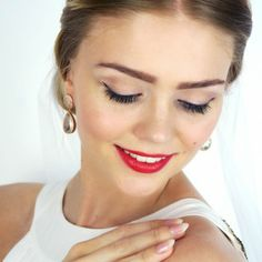 wedding makeup, grace kelly, bride makeup, e.l.f. cosmetics, makeup, red lips, brudemakeup, bryllupsmakeup