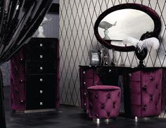 Purple Fabric Tufted Mirror Dressers and Ottoman