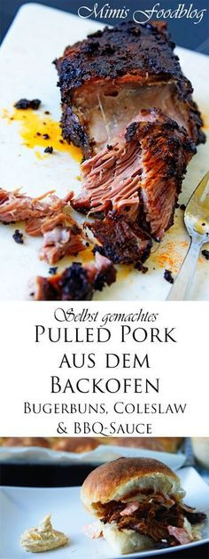 Delicious and easy to prepare pulled pork from the oven. Works even without a grill and convinces every barbecue fan. Delicious and easy to prepare pulled pork from the oven. Works even without a grill and convinces every barbecue fan. Pulled Pork Recipes, Barbecue Recipes, Sandwich Recipes, Grilling Recipes, Beef Recipes, Cooking Recipes, Healthy Recipes, Smoker Recipes, Easy Recipes