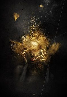 "Table / poster / poster ""golden-diva"" by ""Latiber"". Limited edition of 200 . Black Art, Black White Gold, Black Women Art, Art Et Design, Tableau Design, Or Noir, Arte Obscura, Black Gold Jewelry, Gold Art"