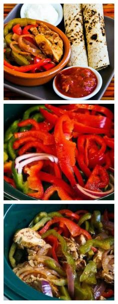 Slow Cooker Chicken Fajitas Recipe from Kalyn's Kitchen; eat with tortillas or enjoy the chicken and veggies alone for a low-carb meal. [Featured on SlowCookerFromScratch.com]